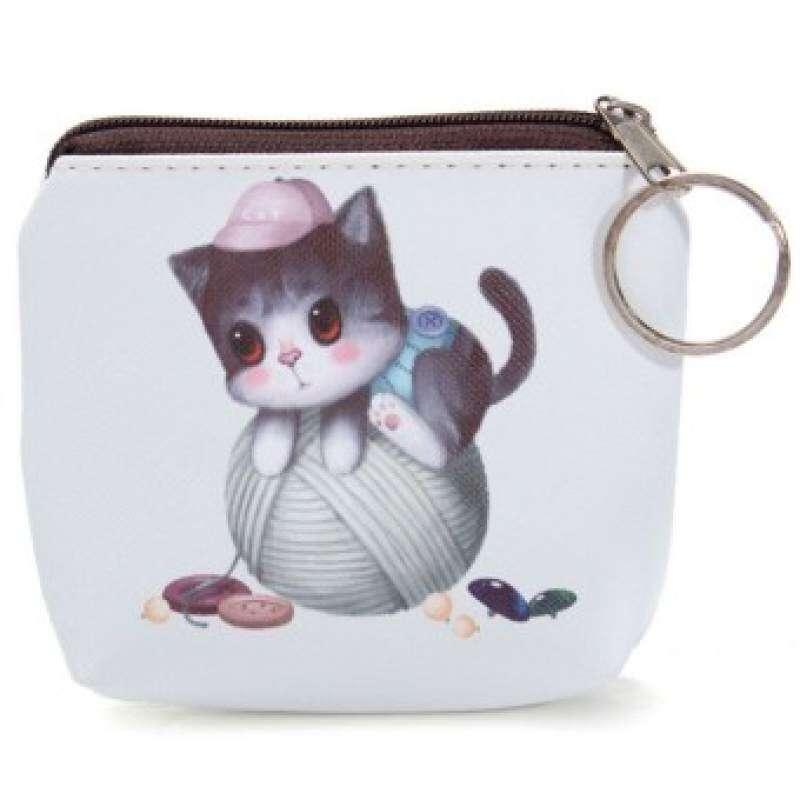 HHS86JUS Kucing Kartun Lucu Wajah Zipper Case Mini Color4 Kantung Koin Kunci Kantong Tas Dompet Dompet