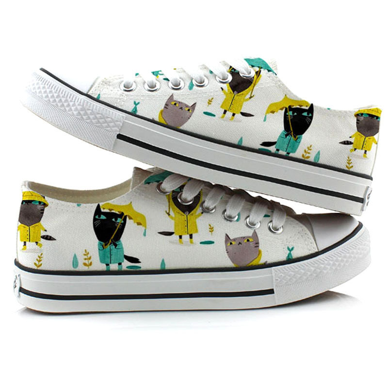 3d07b3583cebb YOVCA Cute Catmi Hand-painted Canvas Shoes Women's Shoes Children's Shoes  Hipster Student's Shoes Casual Shoes Flat White Shoes