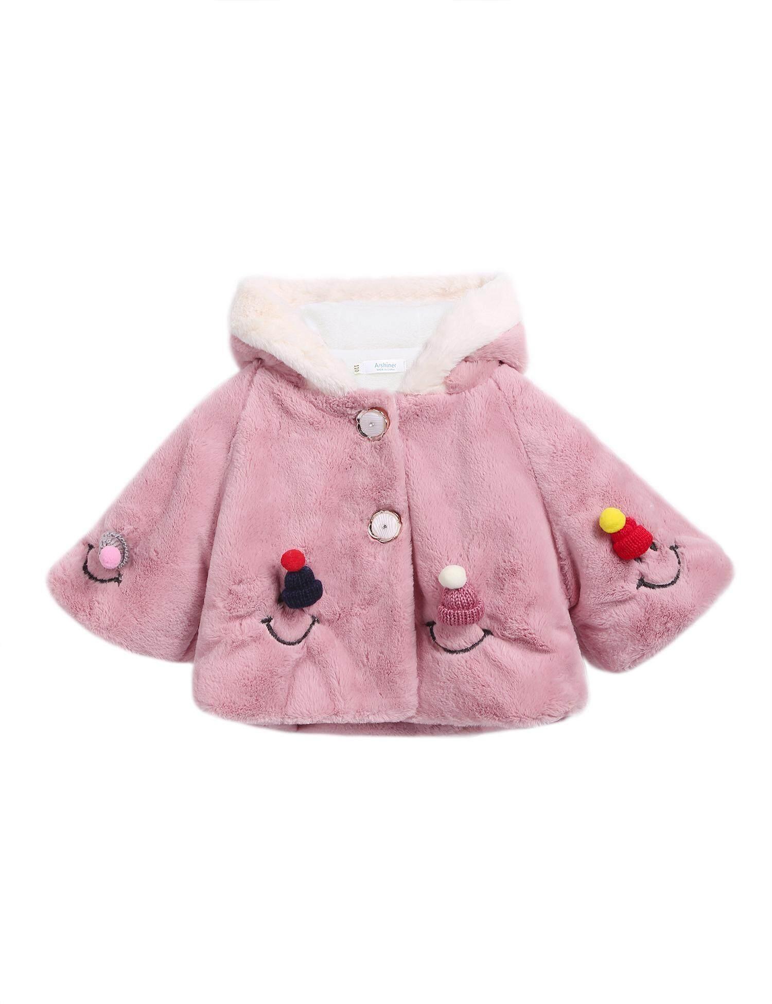 [Dijual Di Rincian Harga] Cyber Diskon Besar Kecil Anak Perempuan Lebih Tahan Dr Penghangat Tebal Musim Dingin Berkerudung Bordir Faux Mantel Bulu Jaket (Ungu) -Intl