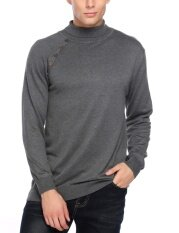[sale At Breakdown Price] Cyber Clearance Sale Men Casual Slim Fit Basic Ribbed Knitted Turtleneck Pullover Thermal Sweaters( Grey ) By Happydeal365.