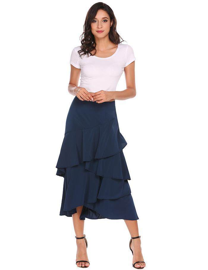 Buy Sale At Breakdown Price Cyber Clearance Sale Women Ruffles Asymmetrical Hem Solid Casual Skirts Navy Blue Intl Cheap Hong Kong Sar China