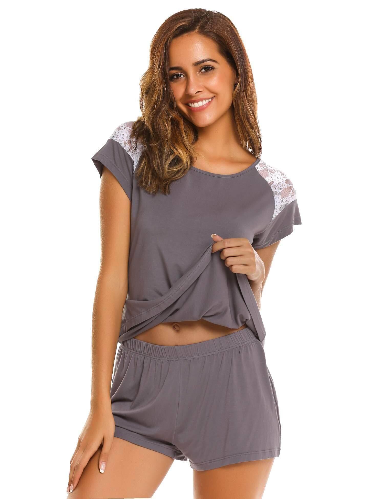Cyber Sales Women O-Neck Short Sleeve Lace T-Shirt   Shorts Pajama Set 555cd3546