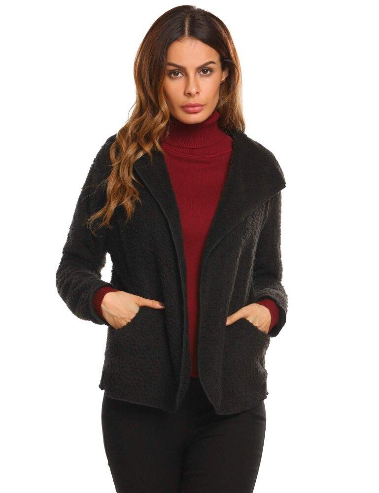 [Dijual Di Rincian Harga] Cyber Top Dijual Wanita Bulu Imitasi Lengan Panjang Bertudung Saku Kuat Musim Dingin Mantel Jaket (Hitam) -Intl