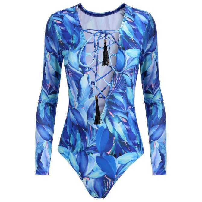 [Dijual Di Rincian Harga] Cyber Top Dijual Women One Piece Baju Renang Bertali Leher V Lengan Panjang Baju Renang Seksi (biru)