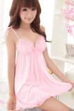 Cyber Women Sexy Nightwear Lace Strap Lingerie Sleepwear Night Dress (Pink)