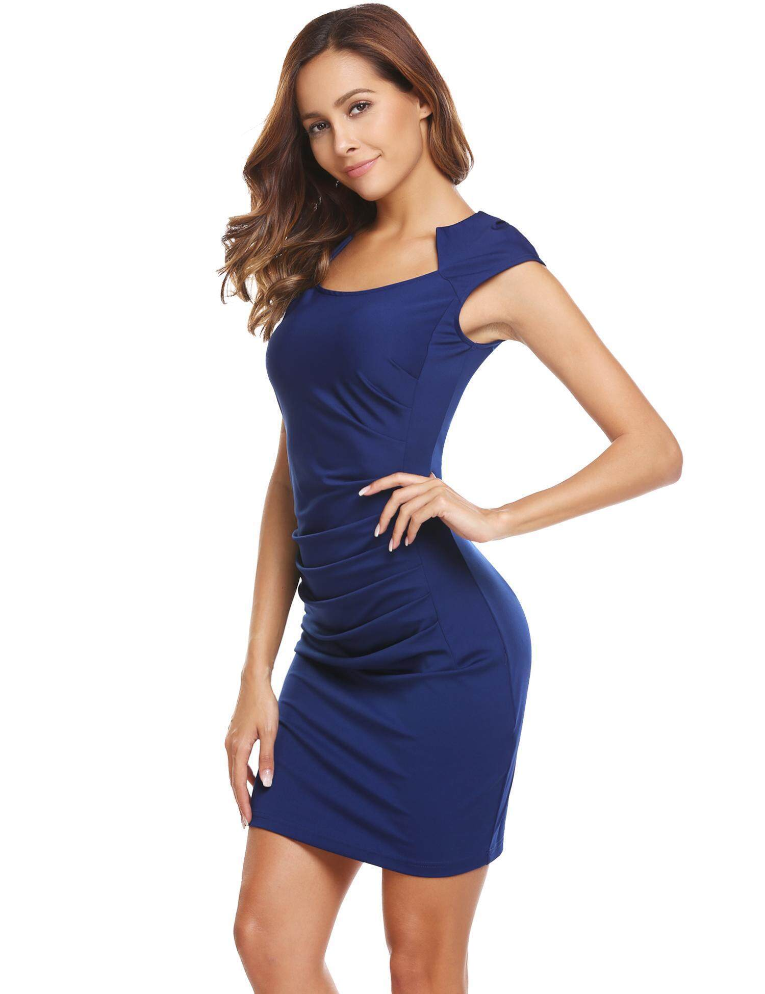 6191eb2037e02 [Sale At Breakdown Price] Cyber Women Square Neck Solid Bodycon Slim Cap  Sleeve Ruched Pencil Dress (Royal Blue) - intl