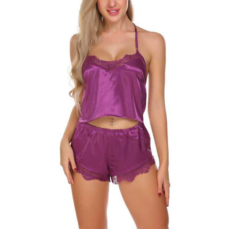 Sale At Breakdown Price Cyber Womens Spaghetti Straps Satin Patchwork  Sleepwear Purple Pajamas Set Lace Cami c154e7e4b