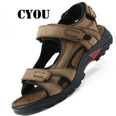 Cyou 2017 Summer Mens Genuine Leather Leisure Hiking Shoes Outdoor Sports Sandals Kasut Lelaki (khaki) By Cyou.