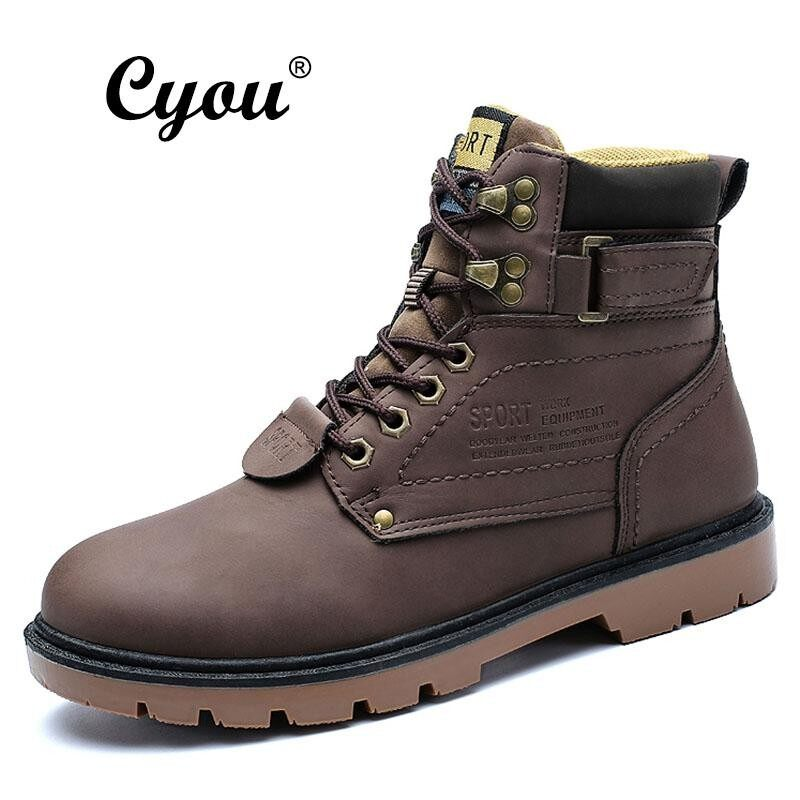 Discount Cyou 2018 New Arrivals Men Boots High Quality Male Genuine Leather Boots Work Safety Boots Fashion Winter Work Shoes Lelaki Kerja Kasut But Keselamatan Intl Cyou