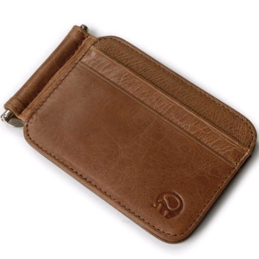 Danone Vintage Style Leather Silver Money Clip Slim Wallet Black Id Credit Card Holder Purse Brown Intl China