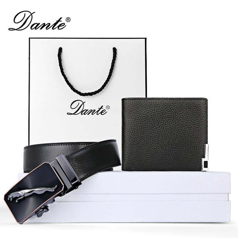 Dante 100 Genuine Leather Mens Wallet Real Cowhide Wallets for Man Belt Black Gift with and