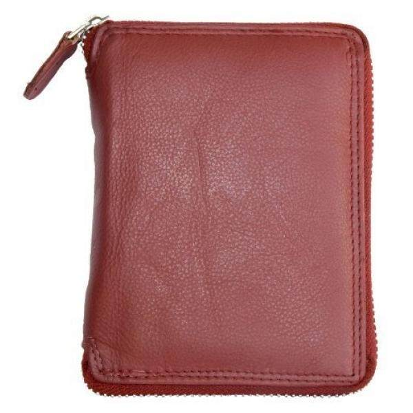 Dark Red Genuine Leather Zip-around Wallet - intl