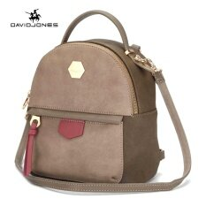 DAVIDJONES women shoulder bag pu leather female backpack large lady  patchwork back bag girl casual book a17f19055d