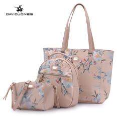 Davidjones Women 2 Pcs Handbag Pu Leather Female Shoulder Bag Small Lady Fl Crossbody