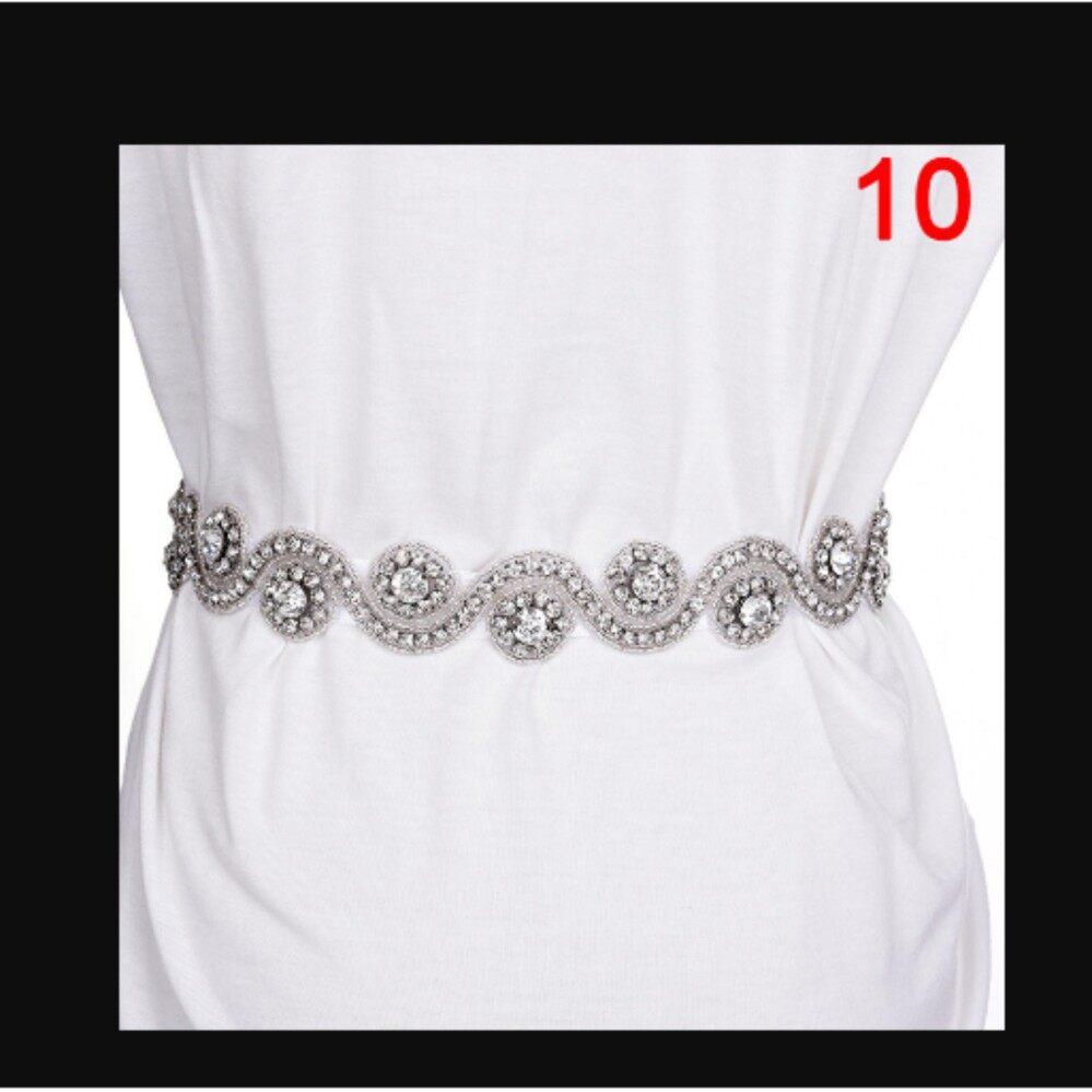 Deluxe Sabuk Pengantin Berlian Imitasi Ikat Pinggang Pita Satin Pernikahan Baju Pesta Putih Gaya: 10-Internasional