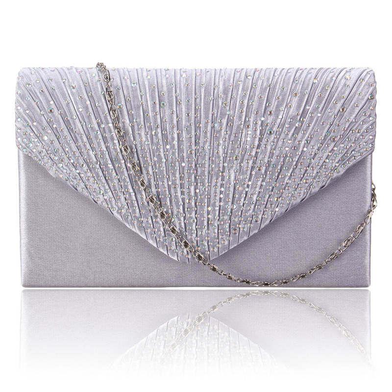 HHS86JUS Diamante Tas untuk Acara Di Malam Hari Satin Pengantin Wanita  Amplop Putih Dompet Tangan Pesta 1a40d7e51b