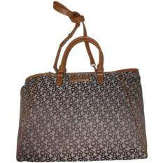 Malaysia Dkny Signature Top Zip Tote With French Grain Leather Chino Caramel