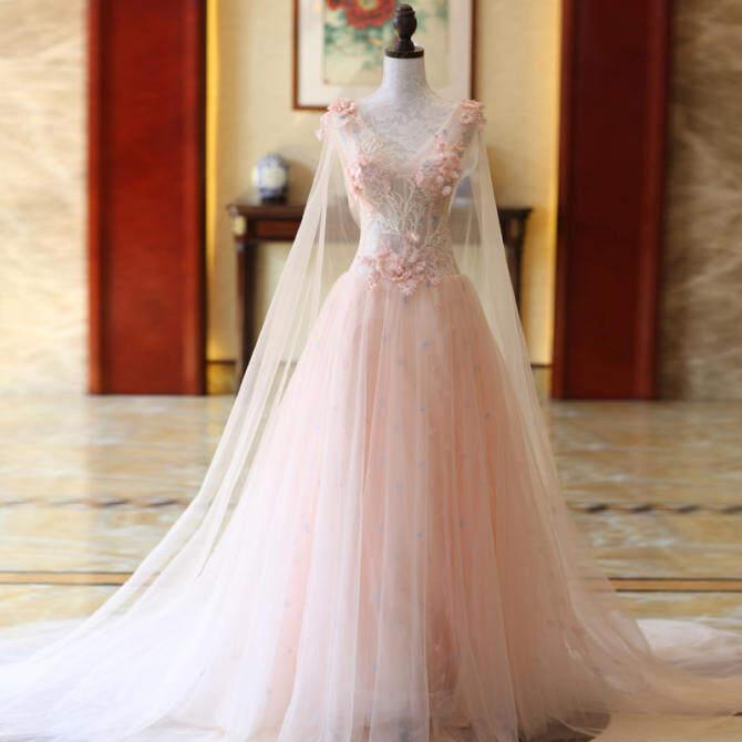Mimpi Putri Cherry Bubuk Kelopak Cadar Pernikahan Pengantin Wanita Gaun