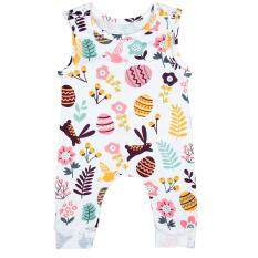 Hình ảnh OS Baby Girl Easter Flower Printing Cotton Sleeveless Jumpsuit with Full Colorful Funny Eggs Patterns White