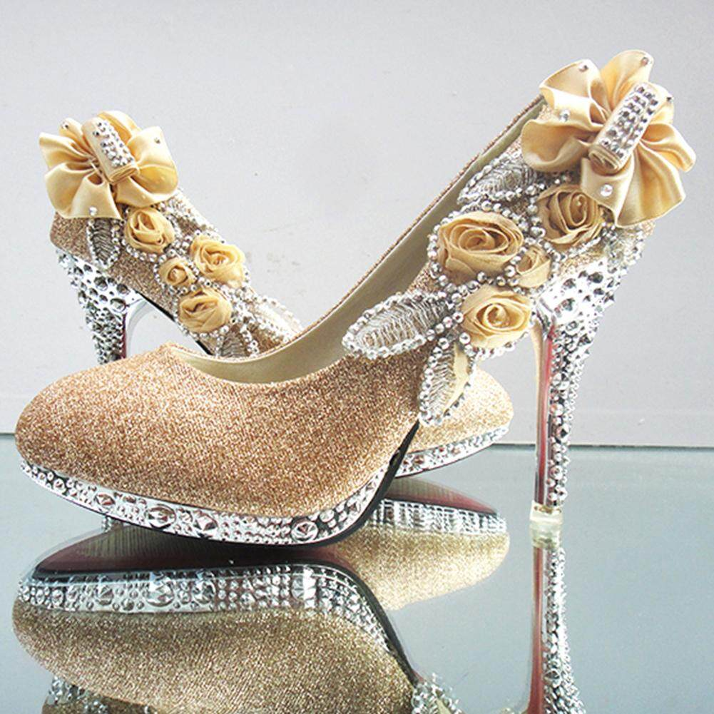 Sale Eachgo Luxury Women Shinny Rose Crystal High Heels Rhinestone Wedding Princesses Party Bride Shoes Gold Intl On China
