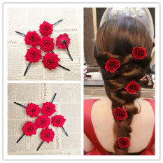 Handmade Bride Headdress Hairpin Earrings Set Marriage Hair Accessories  Up-do Red Formal Dress for 0ae4e4f15b