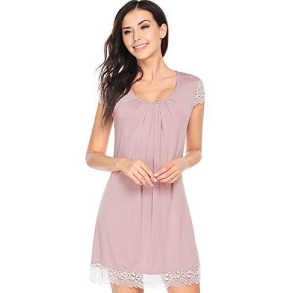 2a118783029f Ekouaer Night Shirt Womens Soft Knit Sleep Tee Loungewear Plus Size  Lingerie (Rose Gray