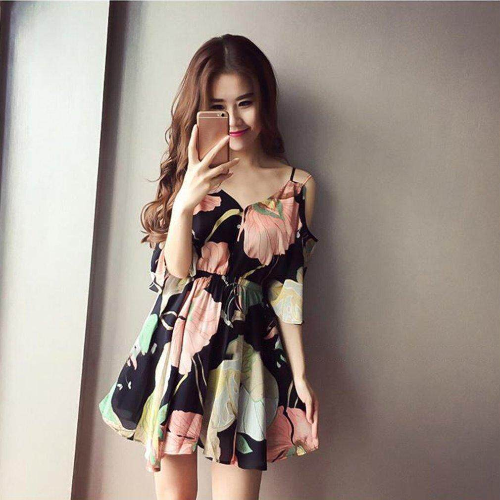 How To Buy Era Charming Women Summer Korean Style Strapless Dress Beach Floral Printed Dress Intl