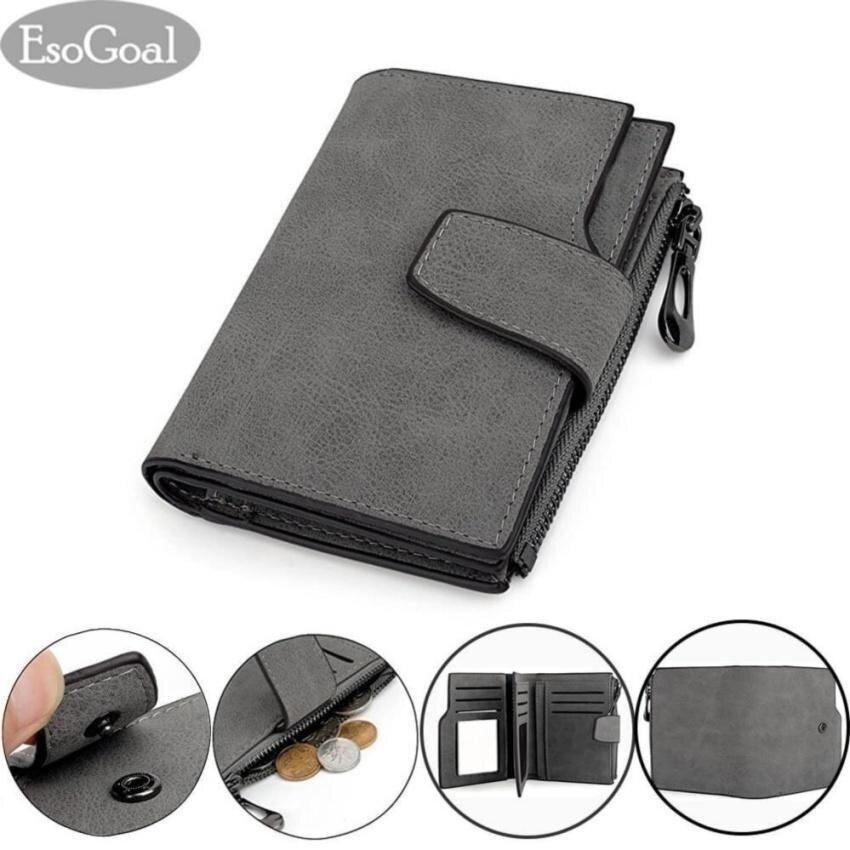 EsoGoal Women Short Wallet Leather Small Zipper Mini Wallet Lady Clutch Purse, Grey - intl