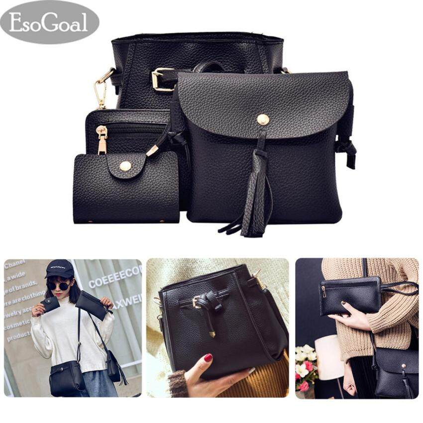 Best Esogoal Women S Pu Leather Handbag Shoulder Bag Purse Card Holder 4Pcs Set Tote Black Intl