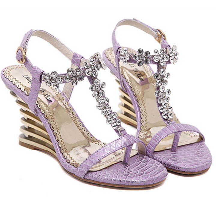 Man's/Woman's:European Station Tide Section Of Women 's Shoes 2016 2016 2016 Summer New Sandals Slope With Diamonds Open Toe Female Sandals 300(Violet) :Fashionable Patterns 492538