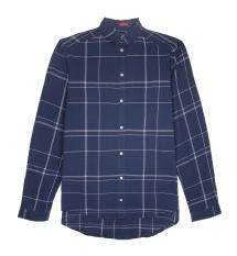 F.O.S NAVY & NAVY WOMEN'S BASIC NAVY PLAID SHIRT