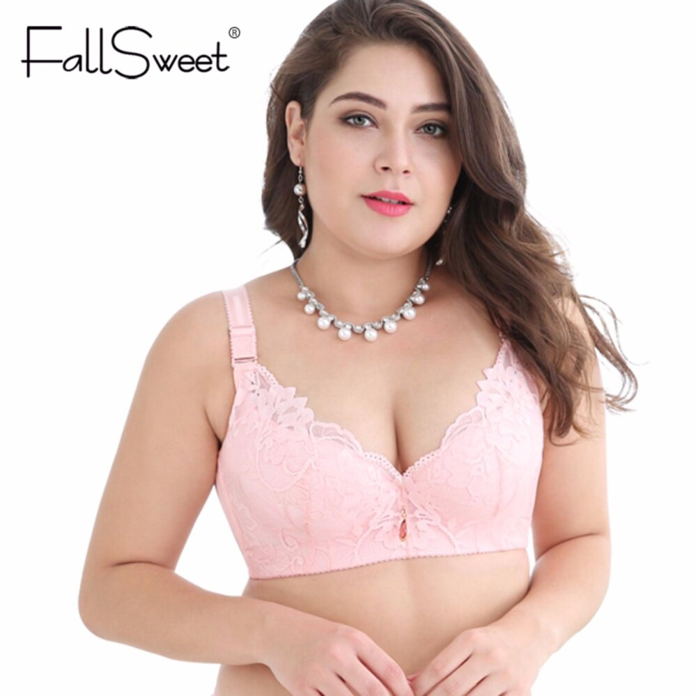 3f7d298ddb3c3 FallSweet Lace Bra Push Up Bra C D Cup Plus Size Women Underwear(Pink)
