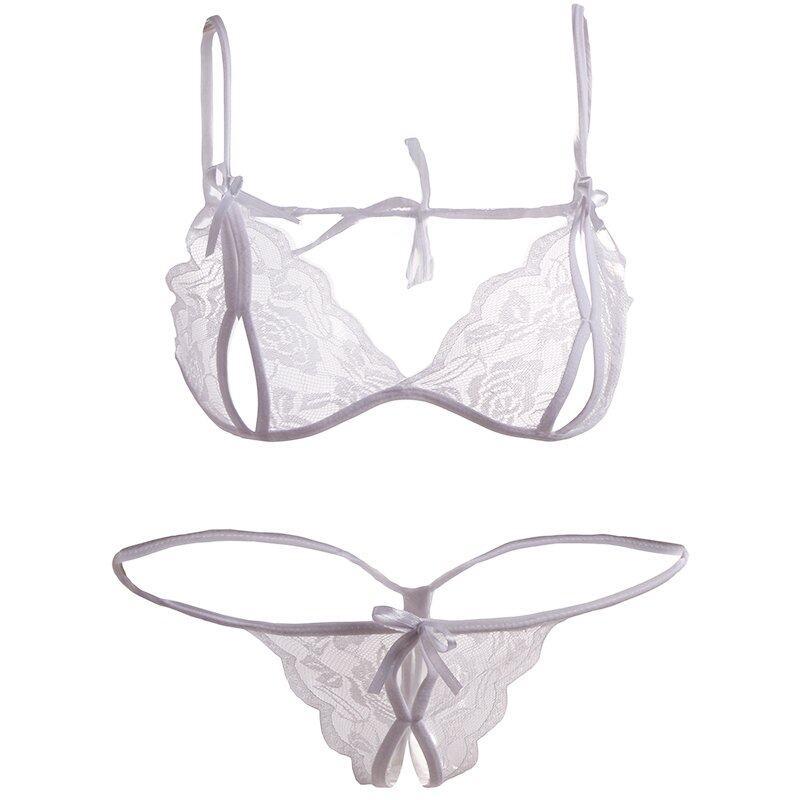 Fancyqube Lingerie Seksi Renda Tipis Transparan Dada Terbuka Beha Tiga Titik Pakaian Dalam Set Putih-Internasional