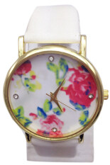Fancyqube White Leather Rose Flower Wrist Watch Malaysia