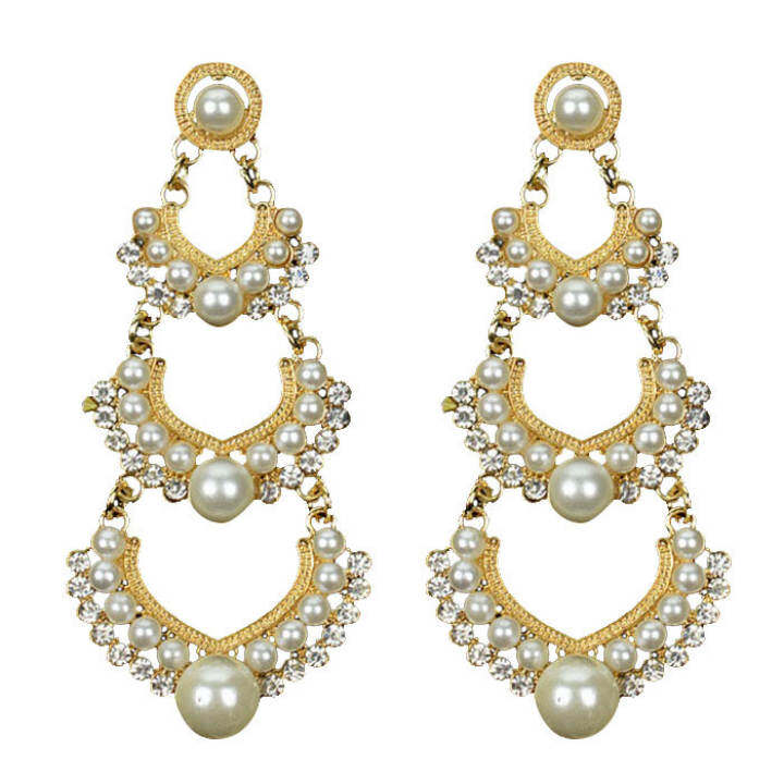 Fang Fang New Pearl Pierced Dangle Chandelier Earrings Charm Rhinestone Crystals (White+Gold)
