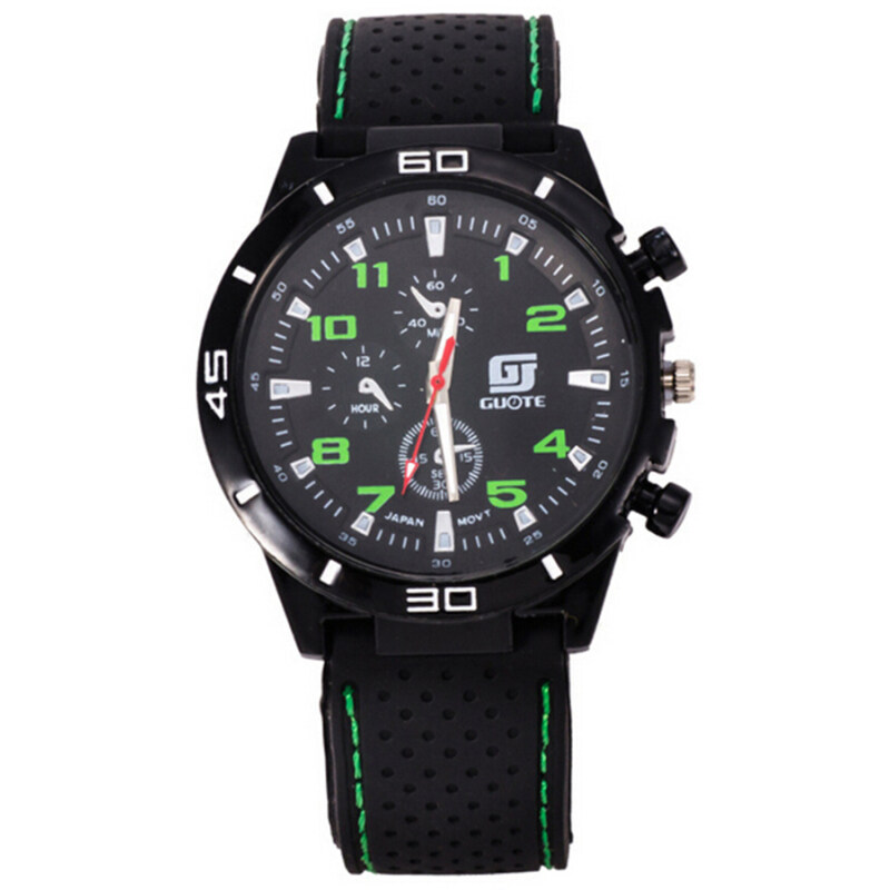 Fashion Casual Sports Mens Jelly Silicone Band Wristwatch Fake Small Dials Pattern (Green) Malaysia