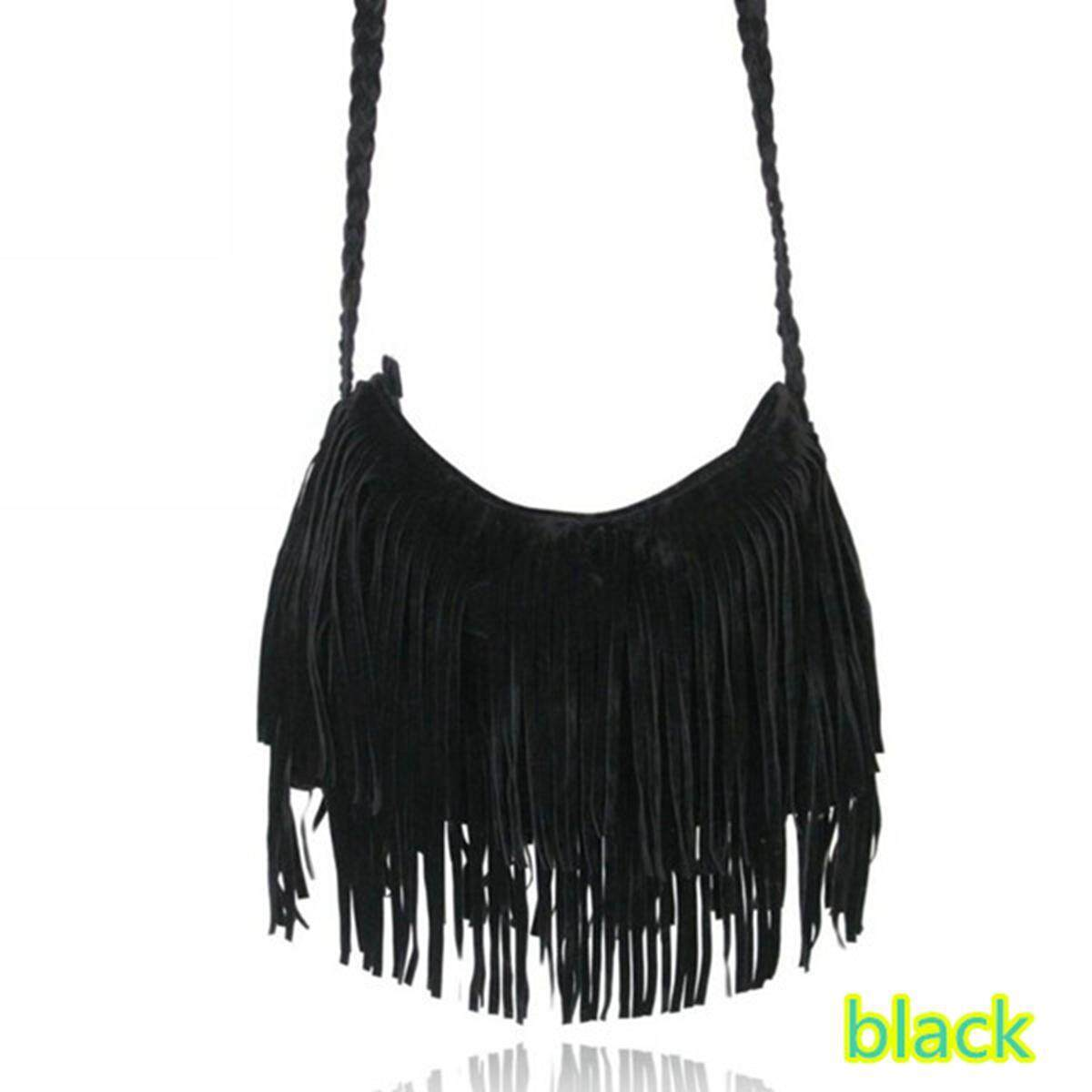 Price Fashion Celebrity Suede Tassel Handbag Fringe Cross Body Messenger Shoulder Bag Black Intl Online China