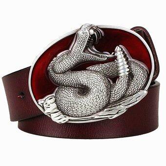 Busana Pria Asli Kulit Sabuk Logam Gesper Ular Sabuk Rattlesnake Pola Raja Cobra Sabuk Punk Rock Gaya Menunjukkan Korset wanita-Internasional