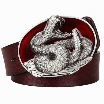 Busana Pria Asli Kulit Sabuk Logam Gesper Ular Sabuk Rattlesnake Pola Raja Cobra Sabuk Punk Rock Gaya Menunjukkan Korset Wanita -Internasional