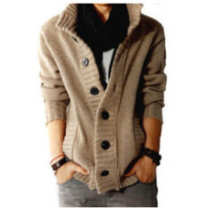 Fashion Mens Wool Cardigan Sweaters Mens Thick Stand Collar Pullover Korean Full Sleeves Slim Solid Mens Sweaters Khaki By Unique Sotre.