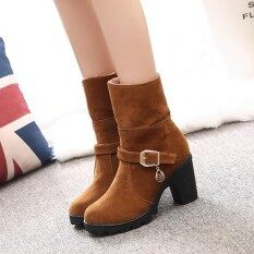 Fashion New Trendy Sweet Lamb Wool Zipper Square Heel Ankle Winter Boots For Women By Freebang.