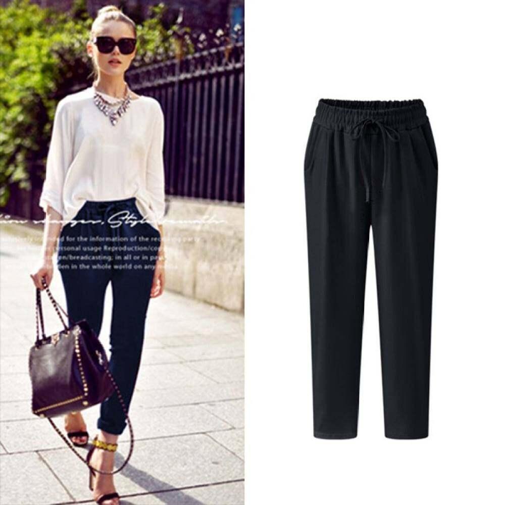 Beli sekarang Produk Baru Fashion Kebesaran Wanita Kesembilan Celana Gaya Korea Plus Toko Buttoms XL-5XL Celana Fanyi Ukuran Ukuran Ramping Kasual ALL-Match ...