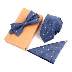 Fashion Polyester Silk Neckties + Handkerchief + Bow Tie Set Skinny Ties Pocket Square Towel Bowtie Wedding For Men By Amart.