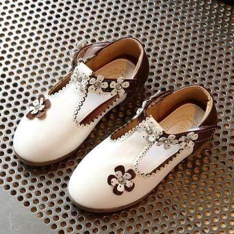 แฟชั่นโรงเรียนหญิงเด็กดอกไม้สบายๆRingstonesยางแต่เพียงผู้เดียวรองเท้าหนังPU I116 สีขาว