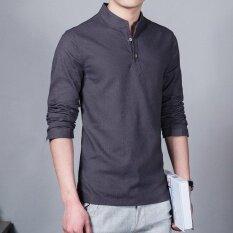 Fashion Short Sleeve Mens Shirts Male Casual Linen Shirt Men Brand Plus Size Shirt (grey) By Silent Flower Online Store.