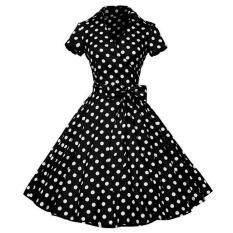 Fashion Vintage Printing Dress Women Retro Style V-Neck Short Sleeve Pleated Dress Defined Waist
