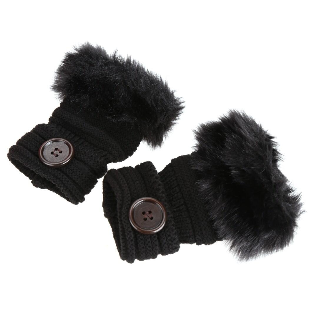 LD Pro Mode Musim Dingin Hangat Perempuan Tombol Tiruan Bulu Rajut Merenda Jari Sarung Tangan Pergelangan