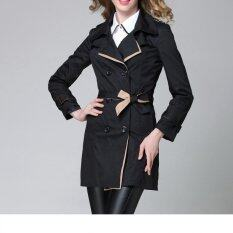 Fashion Women Casual Trench Coat Overcoat Korean Style Female Solid Color Coats Jackets Outerwear (black) By Vangull Fashion Shop.