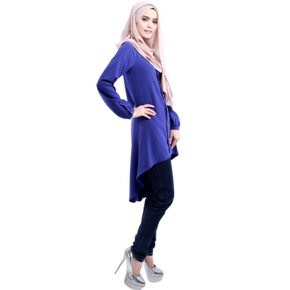 aba9689a2e94e6 Fashion Women Muslim Wear Chiffon PlainTops Blouse Blue Button Cuffed Tops  Sleeve
