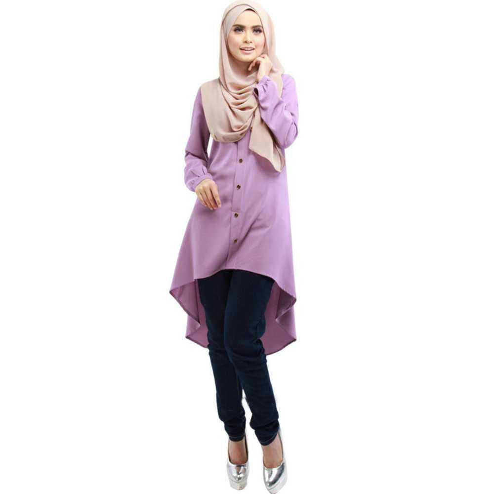 99735766493edf Fashion Women Muslim Wear Chiffon PlainTops Cuffed Tops Purple Blouse  Button Sleeve